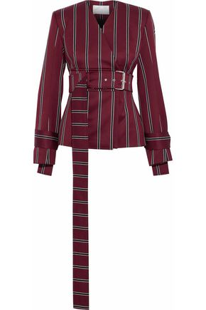 SOLACE LONDON Belted striped wool and cotton-blend blazer