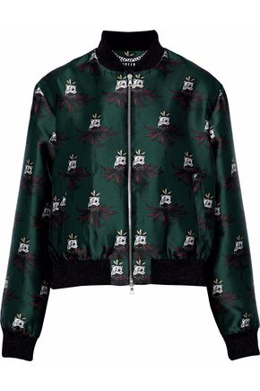 MARKUS LUPFER Printed satin-twill bomber jacket