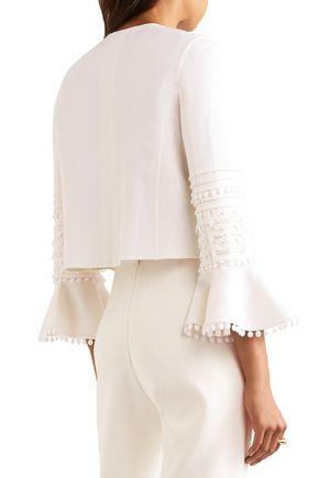 OSCAR DE LA RENTA Guipure lace-trimmed wool-blend jacket