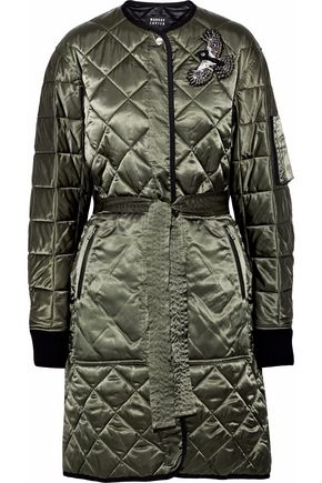 MARKUS LUPFER Embellished quilted cotton-blend satin coat
