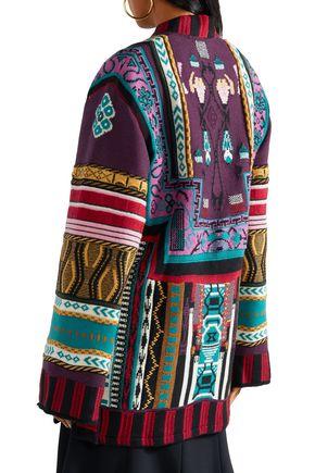 ETRO Reversible intarsia wool-blend and jacquard wrap jacket