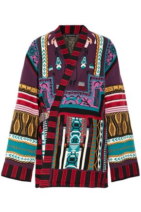 ETRO Reversible intarsia wool-blend and jacquard wrap jacket