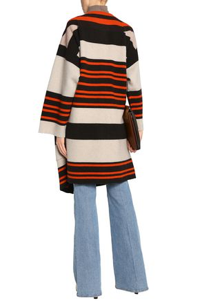 CHLOÉ Striped wool-blend coat