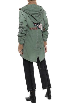 MR & MRS ITALY Embellished printed cotton-canvas hooded jacket