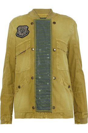 MR & MRS ITALY Embellished cotton-twill jacket