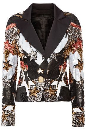 ELIE SAAB Bead and sequin-embellished satin blazer