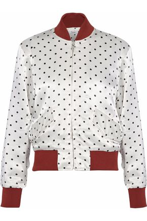GANNI Polk-dot satin bomber jacket
