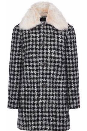 REDValentino Faux fur-trimmed houndstooth bouclé coat
