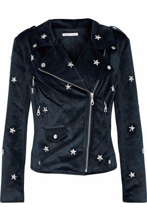 REBECCA MINKOFF Wes studded velvet biker jacket