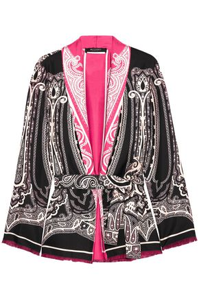 ETRO Fringe-trimmed printed silk-satin jacket