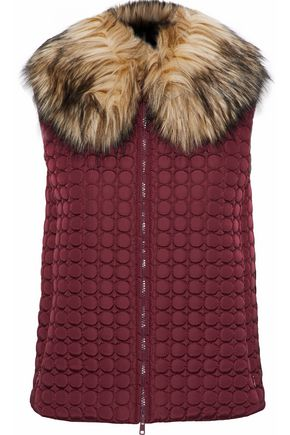 REDValentino Faux fur trimmed quilted shell vest