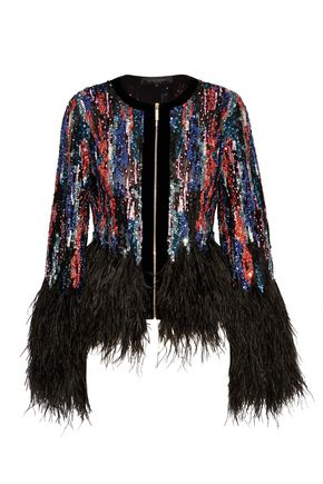 ELIE SAAB Feather-trimmed embellished tulle jacket