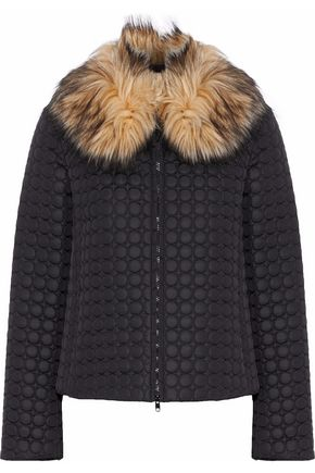 REDValentino Faux fur-trimmed quilted shell jacket