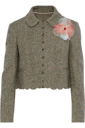 REDValentino Cropped appliquéd wool-tweed jacket