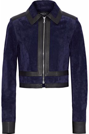DEREK LAM Leather-trimmed suede jacket