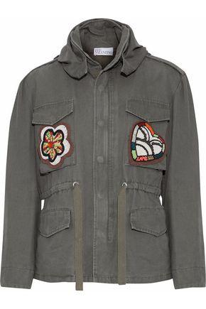 REDValentino Appliquéd cotton-canvas hooded jacket