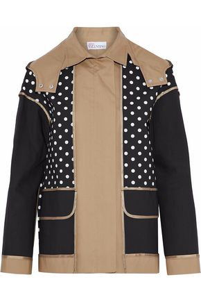 REDValentino Paneled polka-dot cotton-gabardine hooded jacket