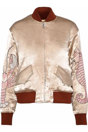 GANNI Leclair embroidered satin bomber jacket