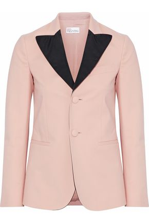 REDValentino Satin-trimmed cotton-blend blazer