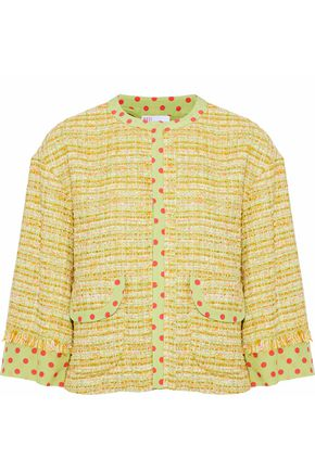 REDValentino Polka-dot silk-trimmed tweed jacket