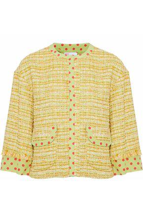 REDValentino Polka-dot silk-trimmed tweed jacket
