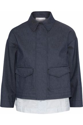 REDValentino Layered denim and striped cotton-blend poplin jacket