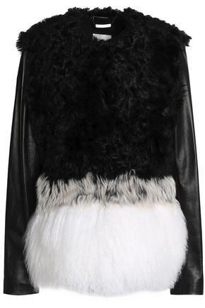 ASHLEY B. Leather-paneled shearling jacket