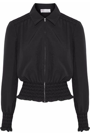 REDValentino Ruffle-trimmed smocked cotton-blend faille jacket