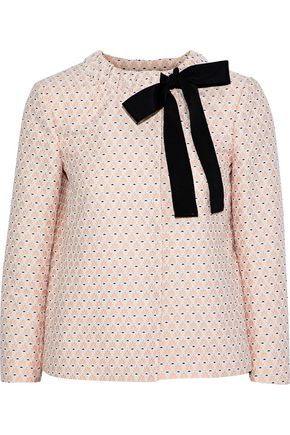 REDValentino Grosgrain-trimmed cotton-blend jacquard jacket