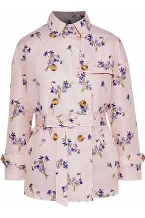 REDValentino Double-breasted floral-print satin-faille jacket