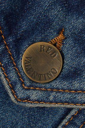 REDValentino Eyelet-embellished faded denim jacket