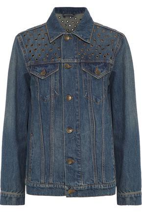 REDValentino Eyelet-embellished faded denim jacket