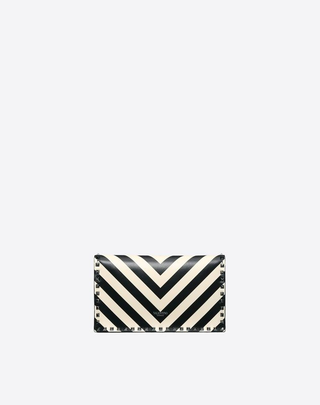 Striped Rockstud Wristlet Clutch
