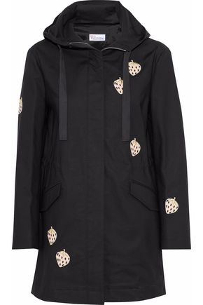 REDValentino Appliquéd cotton-blend canvas hooded coat