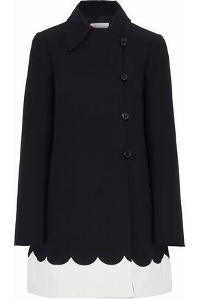 REDValentino Scalloped two-tone crepe coat