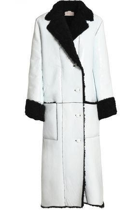 CHRISTOPHER KANE Double-breasted shearling-trimmed leather coat