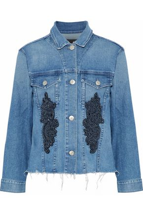 WOMAN BURKE FRAYED EMBELLISHED DENIM JACKET MID DENIM