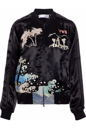 VICTORIA, VICTORIA BECKHAM Embroidered satin bomber jacket