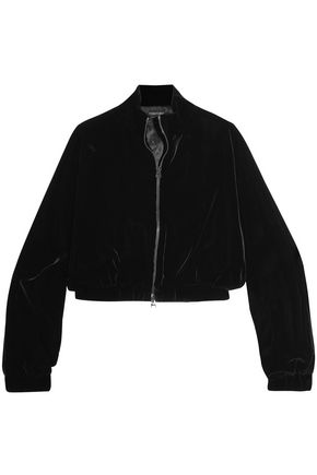 TOM FORD Cropped velvet bomber jacket