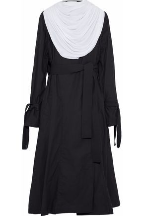 J.W.ANDERSON Belted draped cady-paneled cotton coat
