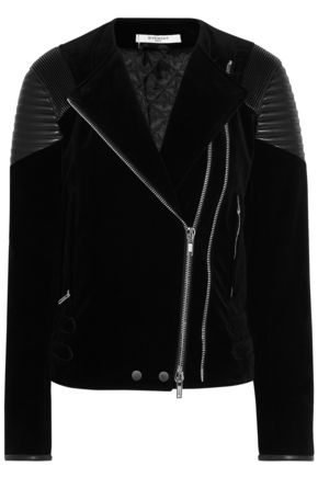GIVENCHY Leather-paneled velvet biker jacket