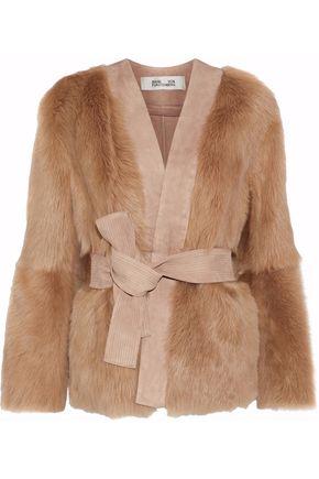 DIANE VON FURSTENBERG Suede-trimmed shearling jacket