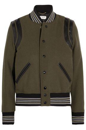 SAINT LAURENT Leather-trimmed wool-blend bomber jacket