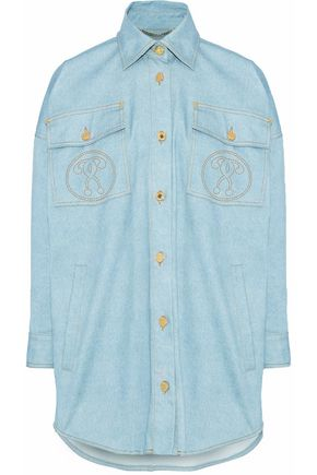 MOSCHINO Oversized printed denim shirt