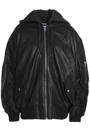 IRO Cotton jersey-trimmed leather hooded bomber jacket