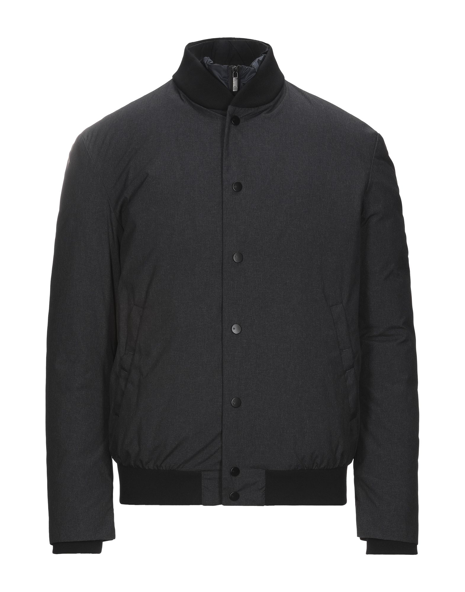 GIORGIO ARMANI Down jackets. techno fabric, no appliqués, solid color, single-breasted, snap button fastening, round collar, multipockets, long sleeves, goose down interior, contains non-textile parts of animal origin, single-breasted jacket, large sized. 76% Polyamide, 24% Polyester