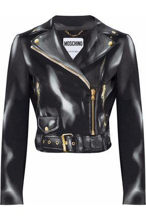 MOSCHINO Printed cotton-blend biker jacket
