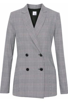 IRIS & INK Goldie double-breasted Prince of Wales checked woven blazer
