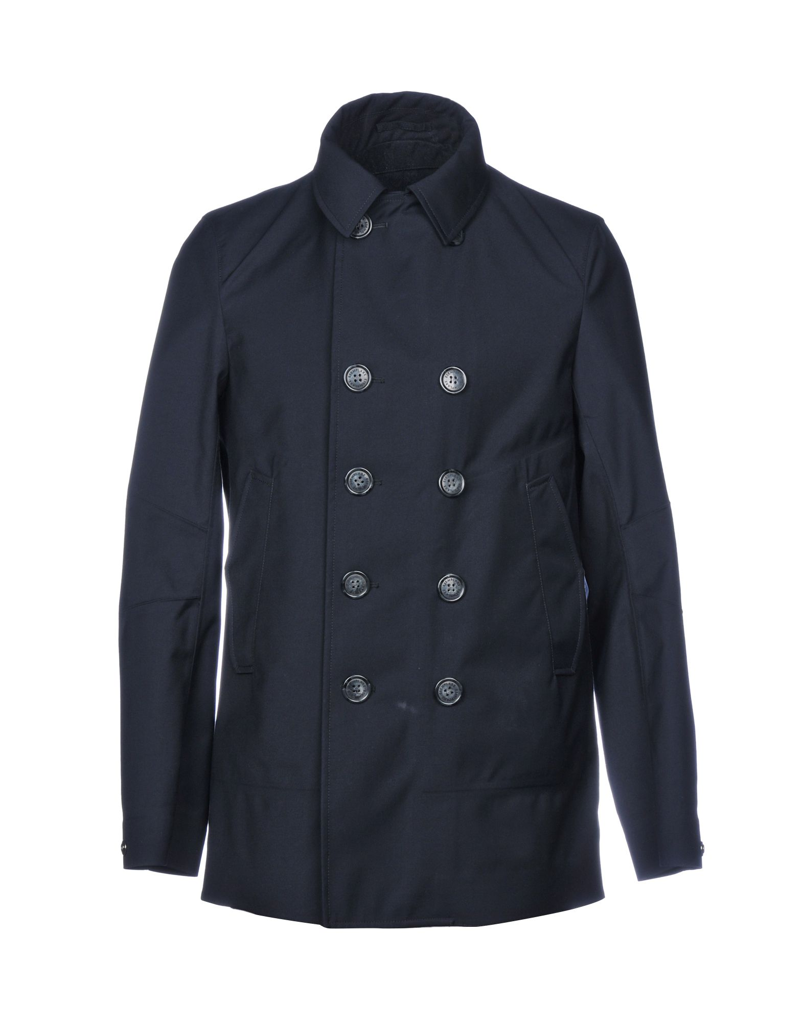 ESEMPLARE Double Breasted Pea Coat in Dark Blue