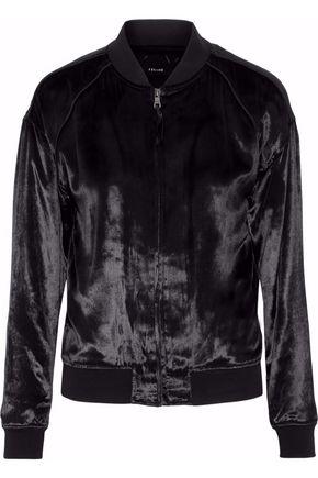 J BRAND Crushed-velvet bomber jacket